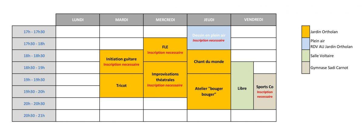 Planning des activités de la Rose des Vents à Auch